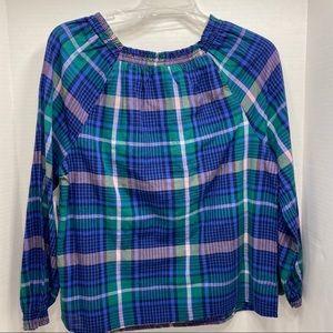 Old Navy Tops - NWT Blue Green Plaid Long Sleeve Elastic Shirt
